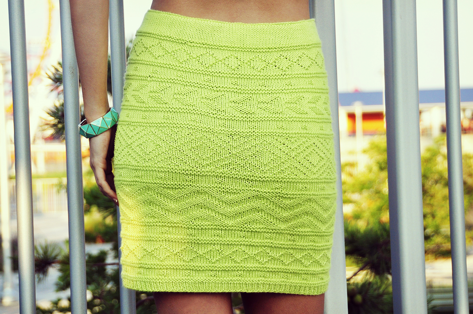 """Shes Electric"""" Aztec Pattern Bodycon Skirt – Girly Knits"""
