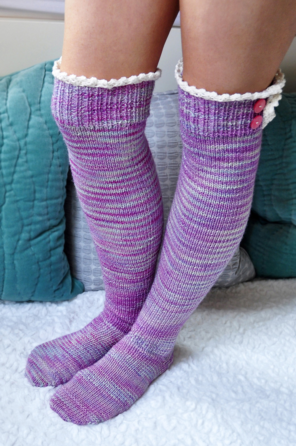"""Young at Heart"" Cable Knit Socks with Lace Placket"